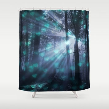 "Shower Curtain - 'Wandering' - 71"" by 74"" Home, Bathroom, Bath, Dorm, Girl, Decor, Fantasy, Nature, Light, Forest, Abstract"