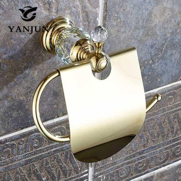 Yanjun True Quality Copper Toilet  Paper Roll Holder With  Flap  Wall Mounted Paper Towel Holder Bathroom Accessories YJ-8057