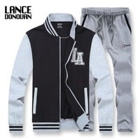 Baseball Jacket and Sweatpants L-8XL Tracksuit Men Set Clothing England Style