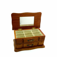 Walnut Varnished Wooden Jewelry Box Accessory Organizer Off White Lined Drawers Brass Fittings Jewelry Storage
