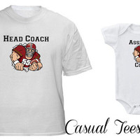 Head Coach Assistant Coach Football Matching Set for Dad and Baby