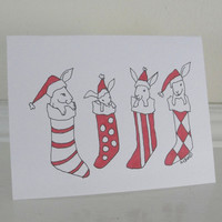 Christmas Cards Bunny Rabbit Cute Holiday Christmas Cards Set of 6
