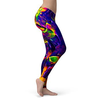 Liquid Abstract Paint V16 - All Over Print Womens Leggings / Yoga or Workout Pants
