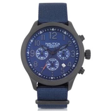 Nautica Designer Men's Watches Black Matte Stainless Steel Dial and Navy Blue Fabric Strap Men's Watch