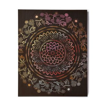 "Famenxt ""Botanical Watercolor Mandala"" Black Multicolor Illustration Birchwood Wall Art"