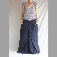 Linen Maxi Skirt Blue Pleated Maxi Skirt Romantic Plus Size Long Skirt Oversized Maxi Skirt Long Dress Tulip Skirt Women's Long Maxi Skirt