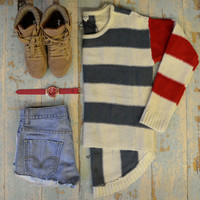 Streak Division Beige Striped Hi Lo Sweater