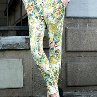 Floral Print Zippered Pencil Pants With Pockets