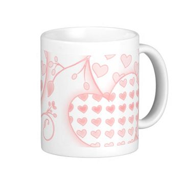 pink hope ringer coffee mug