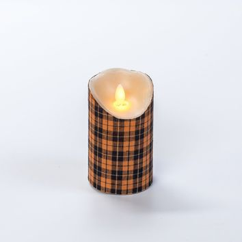 5 IN ORANGE AND BLACK PLAID MOVING FLAME PILLAR CANDLE