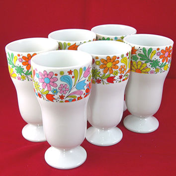 Parfait Glasses, Dessert Dishes, Set of 6, White China, Flower Power, Vintage 1960 Kitchen, Made in Japan, Childrens Parties, Gift for Her