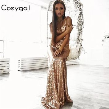 COSYGAL New Style Sequin Maxi Dress Women Evening Party Summer Dress 2017 Sexy Mesh Long Dress Gold Vestidos Whosale Price
