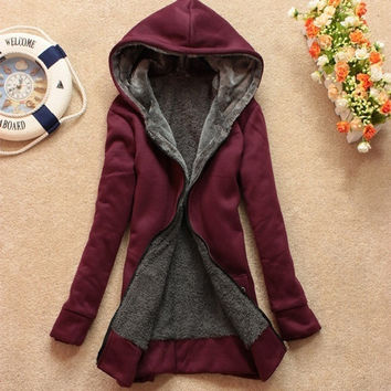 Women's Casual Cardigon Sweater,Inner Fleece Thicker Hooded Sweater Coats = 1919962052