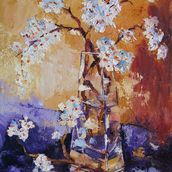 Oil painting, Almond Blossom Still Life by Marion Hedger -  24x30cm, 10x12  inch palette knife painting
