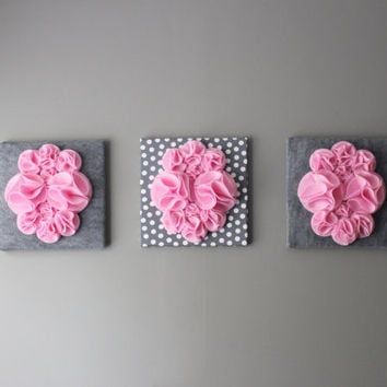 "Three Wall Art Canvases, Pink and Gray Polka Dot Nursery Wall Art, 3D Wall Decor, Felt 12x12"" Wall Hangings"