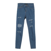 Slit-Cut Denim Pants