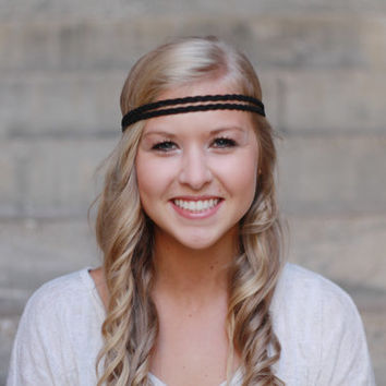 Midnight Black Double Strand Braided Leather Headband