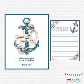 Nautical Advice for Mommy, Nautical Advice Cards, Nautical Baby Shower, Nautical Baby Shower Sign, Nautical Baby Shower Downloads Girl NA01
