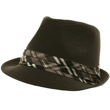 Men's Summer Cotton Pinstripe English Plaid Fedora Trilby Hat Black S/M 56cm