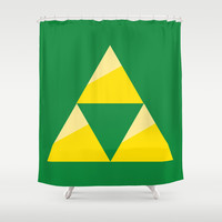 Zelda Triforce - Green and Gold Shower Curtain by Pi Design Prints