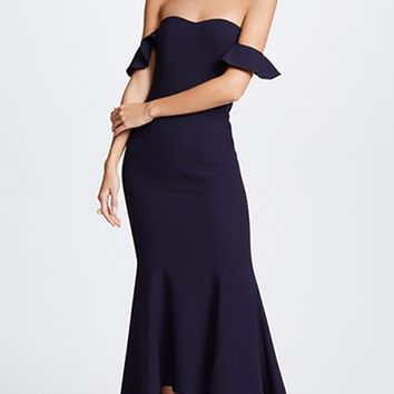 Reticent Romance Strapless Off The Shoulder High Low Bandage Maxi Dress - 2 Colors Available