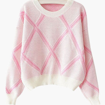 Plaid Accent Knitted Sweater