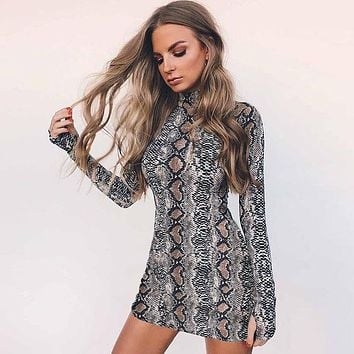 Women Fashion Bodycon Snake Print Turtleneck Long Sleeve Tight Show Thin Mini Dress