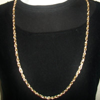 Chunky Long Rope Chain Necklace Gold Tone Unisex Costume Jewelry