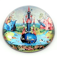 Fountain in Garden of Earthly Delights Glass Dome Paperweight by Bosch 3W