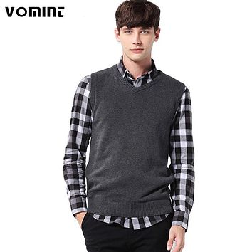 Vomint Classic Mens' Pullover Sweater Vest V-Neck New Sweater 100% Cotton Knitted Plus Size Slim Class Vest Size: S-3XL S6AW003