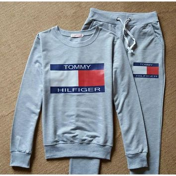 DCCKW2M Tommy Hilfiger Fashion Show Thin Long Sleeve Print Casual Sport Suit Two Piece