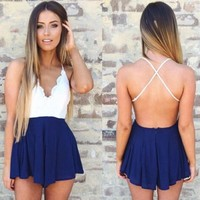 Lace Backless Blue Romper