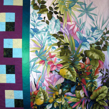 Floral Art Quilt  - Quilted Flowers and Foliage - Wall Hanging - Green and Purple Spring Colors
