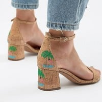 Glamorous Natural Flamingo Embroidered Kitten heel Sandals at asos.com