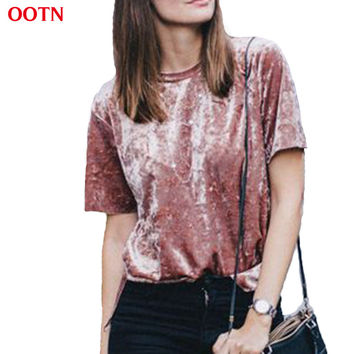 OOTN casual velvet solid pink 2017 new t shirts tee shirt women short sleeve summer slim brief round neck top women fashion tops