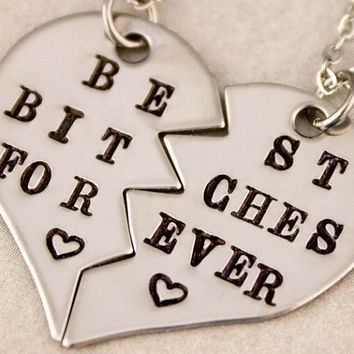 Best Bitches Forever Necklaces | Gift for Best Friend | Best Bitches Jewelry | Best Friend Necklaces | Best Friend Gift | Split Broken Heart