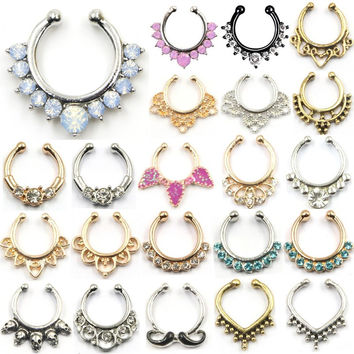 New Hot Sale Crystal Fake Nose Ring Hoop Nose Rings Fake Septum Piercing Hanger Clip On Body Jewelry For Women BH0024