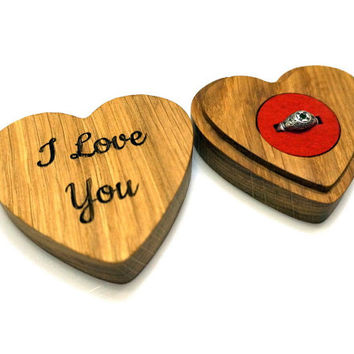 Custom Engraved Wooden Ring Box Valentines Gift Personalized Proposal Ring Box Wedding Oak Wood Ring Bearer Box Rustic Wedding Gift for Her
