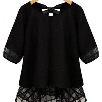 Mesh Accent Chiffon Half Sleeve Ruffled Bottom Top
