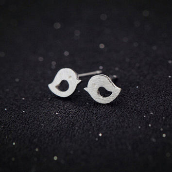 925 Silver Simple Design Hollow Out Earring Korean Accessory [6057460545]