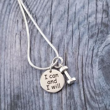 I Can And I Will Sterling Silver Charm Necklace