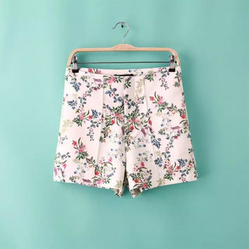 Summer Stylish High Rise Print Slim Casual Pants Shorts [4917834052]