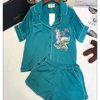 Gucci Women Silk Satin Pattern Embroidery Shirt Shorts Robe Sleepwear Loungewear Set Two-Piece
