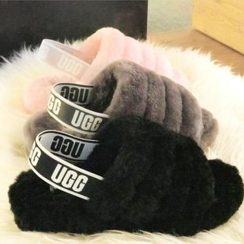 Hight Quality UGG Winter Fashion Slippers New Women's Fashion Fluff Yeah Slipper Shoes Light Pink I/A