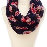 Floral Print Infinity Scarf by Charlotte Russe - Navy Blue Cmb