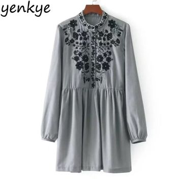 Autumn Women Floral Embroidery Dress Long Sleeve Stand Collar Pleated Casual Dresses Short Mini