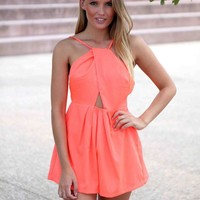 Coral Sleeveless Cross Over Front Backless Playsuit
