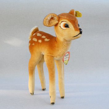 "Vintage 1959- 1964 Larger Steiff Bambi Fawn 8.5"" T Walt Disney 7422, 00 All IDs Made in Germany"