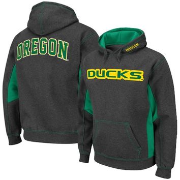 Oregon Ducks Turf Fleece Pullover Hoodie - Charcoal/Green