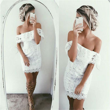 White Off Shoulder Lace Patterned Dress